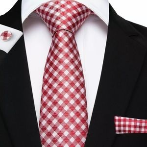 Red & White Check Gift Silk Tie Set